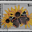 HUNGARY - CIRCA 1980: A stamp printed in Hungary showing vanessa butterfly and rudbeckia flower, circa 1980 — Stock Photo