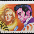 MADAGASCAR - CIRCA 1994: A stamp printed in Madagascar shows Marilyn Monroe and Elvis Presley, circa 1994 — Stock Photo