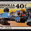 "MONGOLIA - CIRCA 1978: A stamp printed in Mongolia shows sport car ""Madi"", circa 1978 — Stock Photo"