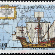 NEW ZEALAND - CIRCA 1992: A stamp printed in New Zealand devoted to 500th anniversary of the discovery of America, shows Ships of Columbus Santa Maria, circa 1992 - Photo