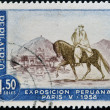 PERU - CIRCA 1958: A stamp printed in Peru dedicated to Peruvian Exhibition Paris shows Chalan with Peruvian Paso Horse, circa 1958 — Stock Photo #18372417