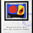 ROMANIA - CIRCA 1970: stamp printed in Romania show Abstract by Joan Miro, circa 1970. - 图库照片
