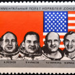 USSR - CIRCA 1975: stamp printed in USSR shows Apollo Soyuz Test Project crew Slayton, Stafford, Brand, Leonov, Kubasov, circa 1975 — Stock Photo