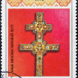 BELARUS - CIRCA 1992: A stamp printed in Belarus shows a cross Euphrosyne of Polotsk, circa 1992 - 图库照片