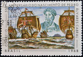 BRAZIL- CIRCA 1968: A stamp printed in Brazil dedicated to birth anniversary of Pedro Alvares Cabral, circa 1968 — Stock Photo