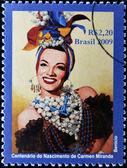BRAZIL - CIRCA 2009: A stamp printed in Brazil shows Carmen Miranda, circa 2009 — Stock Photo