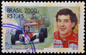 BRAZIL - CIRCA 2000: A stamp printed in Brazil dedicated to motor shows Ayrton Senna, circa 2000 — Foto Stock