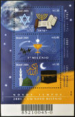 BRAZIL - CIRCA 2001: Stamps printed in Brazil dedicated to schedule of the three biblical religions, Jews, Christians, and Arabs, circa 2001 — Stock Photo