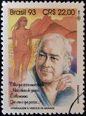 Brasil - por volta de 1993: um selo imprimido em btrazil mostra vinícius de moraes, por volta de 1993 — Foto Stock