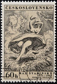 "CZECHOSLOVAKIA - CIRCA 1973: stamp printed in Czechoslovakia shows draw ""August Noon"" by Max Svabinsky, circa 1973 — Foto Stock"