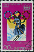 NORTH KOREA - CIRCA 1978: stamp printed in Korea dedicated to Winter Olympic Games, Sapporo-Innsbruck, shows woman skiier, circa 1978 — Stock Photo