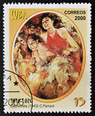 CUBA - CIRCA 2000: A stamp printed in Cuba devoted to folklore shows Cachumba by C. Ferrant, circa 2000 — Stock Photo
