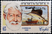 CUBA - CIRCA 1999: A stamp printed in Cuba shows Ernest Hemingway, circa 1993 — Stock Photo