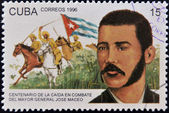 CUBA - CIRCA 1996: A stamp printed in cuba dedicated to fall in combat of Major General Jose Maceo, circa 1996 — Foto de Stock