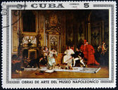 CUBA - CIRCA 1969: Stamp printed in Cuba dedicated to Artworks Napoleon Museum, shows Napoleon's Coronation Planning by Jehan Georges Vibert, circa 1969 — Stock Photo
