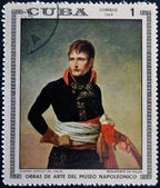 CUBA - CIRCA 1969: Stamp printed in Cuba dedicated to Artworks Napoleon Museum, shows Bonaparte in Milan by Andrea Appiani, circa 1969 — Stock Photo