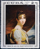CUBA - CIRCA 1969: Stamp printed in Cuba dedicated to Artworks Napoleon Museum, shows Hortense de Beauharnais by Francois Gerard, circa 1969 — Stock Photo