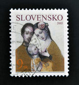 SLOVAKIA - CIRCA 2005: A stamp printed in Slovakia dedicated to family, circa 2005 — Stock Photo