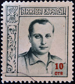 SPAIN - CIRCA 1937: A stamp printed in Spain shows Jose Antonio Primo de Rivera, circa 1937 — 图库照片