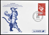 FRANCE - CIRCA 1997: A stamp printed in France shows Puss in Boots, Perrault tale, circa 1997 — Stok fotoğraf