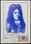 FRANCE - CIRCA 1968: A stamp printed in France, shows King Louis XIV, coat of arms of France and Flanders , circa 1968 — Stock Photo