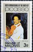 MALDIVE ISLANDS - CIRCA 1981: stamp printed in Malldives Islands shows self portrait by Pablo Ruiz Picasso, circa 1981 — Stock Photo