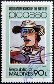 MALDIVE ISLANDS - CIRCA 1981: stamp printed in Malldives Islands shows the sailor by Pablo Ruiz Picasso, circa 1981 — Stock Photo