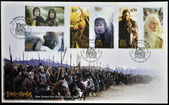 NEW ZEALAND - CIRCA 2003: stamp printed in New Zealand dedicated to The Lord of the Rings shows the characters in the movie, circa 2003 — Stock Photo