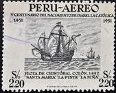 PERU - CIRCA 1951: Stamp printed in Peru dedicated to Birth of Isabella the Catholic shows fleet of Christopher Columbus, circa 1951 — Stock Photo