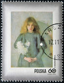 POLAND - CIRCA 1971: A stamp printed in Poland shows chrysanthemums young child by Olga Boznanska, circa 1971 — Stock Photo