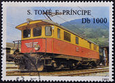 SAO TOME AND PRINCIPE - CIRCA 1995: A stamp printed in Sao Tome shows a train, circa 1995 — Stok fotoğraf