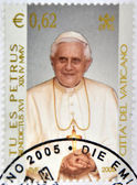 VATICAN - CIRCA 2005: A stamp printed in Vatican shows Pope Benedict XVI, Tu es Petrus, circa 2005 — Stock Photo