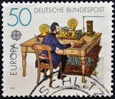 GERMANY - CIRCA 1979: A stamp printed in Germany shows Telegraph office in 1863, circa 1979 — Stock Photo