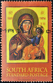 SOUTH AFRICA - CIRCA 2004: A stamp printed in South Africa shows Virgin Mary and Baby Jesus, circa 2004 — Stock Photo