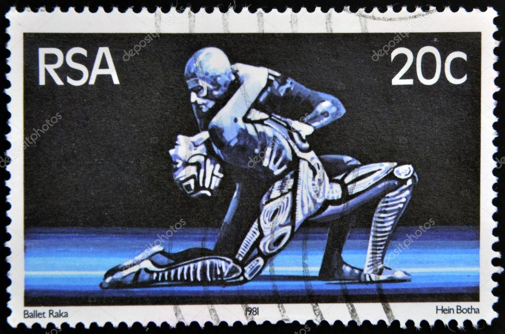 SOUTH AFRICA - CIRCA 1981: A stamp printed in RSA shows scene of raka ballet, circa 1981 — Stock Photo #18373625