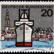 Stock Photo: GERMANY - CIRC1964: Stamp printed in Germany dedicated to Hamburg, circ1964