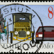 GERMANY - CIRCA 1986: A stamp printed in Germany dedicated to the 100th anniversary of the car, shows Benz Tricycle, Saloon Car, 1912 and Modern Automobile, circa 1986 — Stock Photo