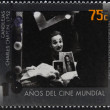 ARGENTINA - CIRCA 1995: A stamp printed in Argentina dedicated to 100 years of world cinema shows scene of Limelight by Charles Chaplin, circa 1995 — Stock Photo