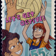 "AUSTRALIA - CIRCA 2009: A stamp printed in Australia shows netball, ""Let's Get Active!"", circa 2009 - Stock Photo"