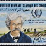 FEDERAL ISLAMIC REPUBLIC COMOROS - CIRCA 1985: A stamp printed in Comoros shows Mark Twain, circa 1985 — Stock Photo #18735443