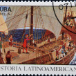 CUBA - CIRCA 1992: A stamp printed in cuba dedicated to Latin American history, shows Columbus speaking to crew, circa 1992 — Stock Photo