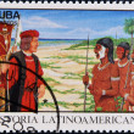 CUBA - CIRCA 1992: A stamp printed in cuba dedicated to Latin American history, shows Columbus Meeting natives, circa 1992 — Stock Photo