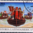 CUBA - CIRCA 1992: A stamp printed in cuba dedicated to Latin American history, shows Columbus landing in New World, circa 1992 — Stock Photo