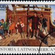 Stock Photo: CUB- CIRC1992: stamp printed in cubdedicated to Latin Americhistory, shows Columbus Land sighted Oct. 12, 1942, circ1992