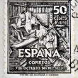 SPAIN - CIRC1947: stamp printed in Spain shows Don Quixote, circ1947 — Stock Photo #18736257