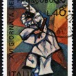 ITALY - CIRCA 1974: A stamp printed in Italy dedicated to stamp day, shows man with mask, circa 1974 — Stock Photo