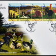 Stock Photo: NEW ZEALAND - CIRC2005: Stamps printed in New Zealand dedicated to farmyard animals, circ2005