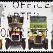 Stock Photo: UNITED KINGDOM - CIRC2001: stamp printed in Great Britain shows Leyland X2 Open-top, London General B Type, Leyland TitTD1 and AEC Regent 1, circ2001