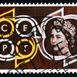 Stock Photo: UNITED KINGDOM - CIRCA 1961: A stamp printed in Great Britain shows Queen Elizabeth II and CEPT Emblem (Conference of European Postal Telecommunications) , circa 1961