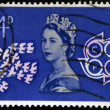 UNITED KINGDOM - CIRCA 1961: A stamp printed in Great Britain shows Queen Elizabeth II, doves and CEPT Emblem (Conference of European Postal Telecommunications), circa 1961 — Stock Photo